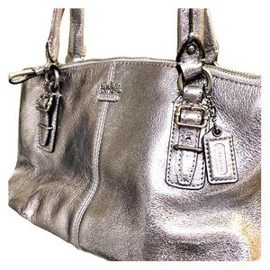 Authentic Coach Small Silver Handbag